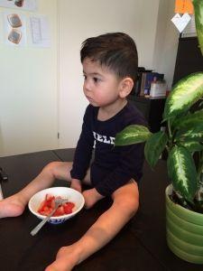 2015-08-21 Sylvain eet aartbeien van Rowan